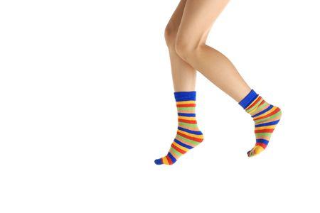 hosiery: Woman legs in hosiery walking on tiptoe