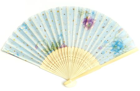 ventilate: Close-up photo of the blue Chinese fan on a white background