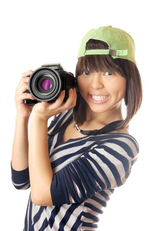 Glad model with big digital photo camera photo