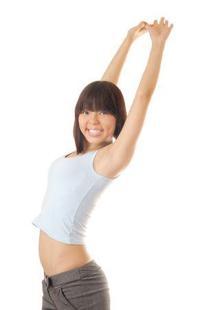 nifty: Foto van gelukkig handige model op een witte achtergrond