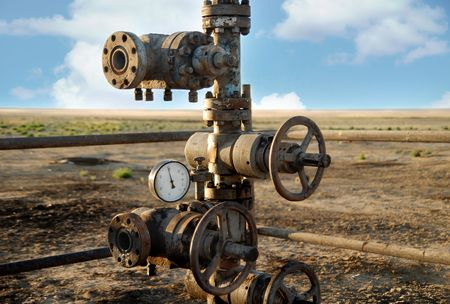 preasure: Photo of the old rusty oil rigs with preasure valve