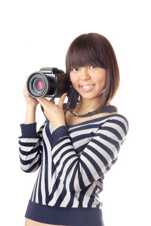 nifty: Jonge dame die een digitale fotocamera