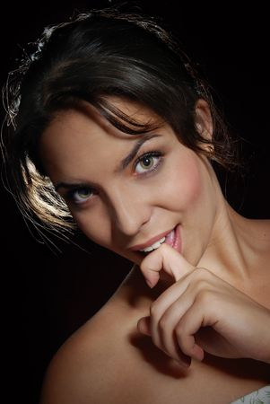 Close-up portrait of the smiliing flirting lady Stock Photo - 3688324