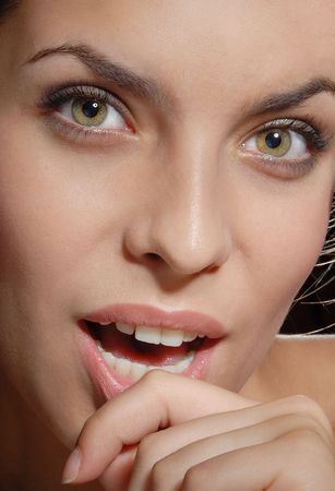 snazzy: Close-up portrait of the woman with good skin and teeth Stock Photo
