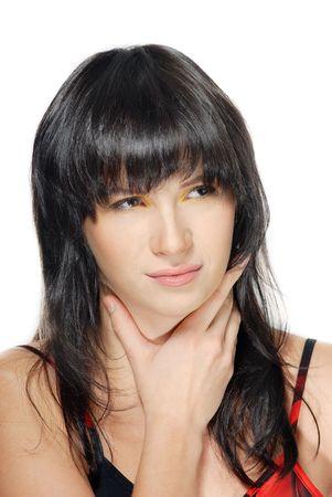 angina: Pretty Woman que sufren de la garganta