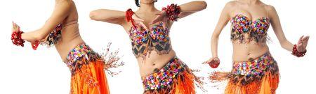 nifty: Foto van de drie dansen trainer in het oranje klederdracht Stockfoto