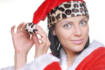 snazzy: Close-up photo of the pretty woman in the red costume of Santa Stock Photo