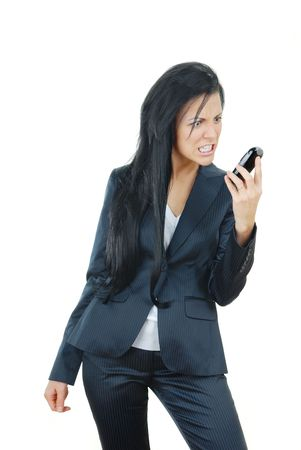 infuriate: Angry businesswoman on a white background with broken mobile phone