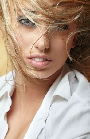 Close-up portrait of the sexy blonde with curly hair Stock Photo - 4247246