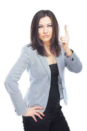 Female boss wagging a finger on a white background photo