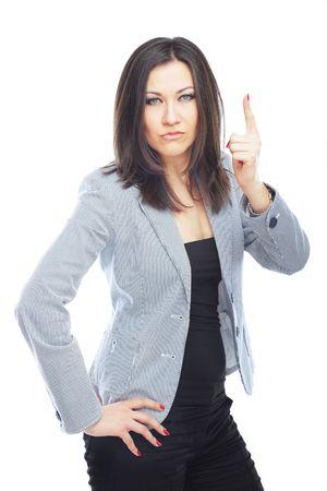 female boss: Weibliche Chef erhobenen Finger auf wei�em Hintergrund