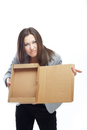 Jobless woman with empty box as a symbol of crisis photo