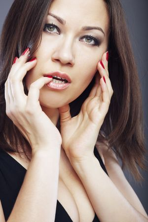 Pretty woman with good makeup and manicure Stock Photo - 4366838