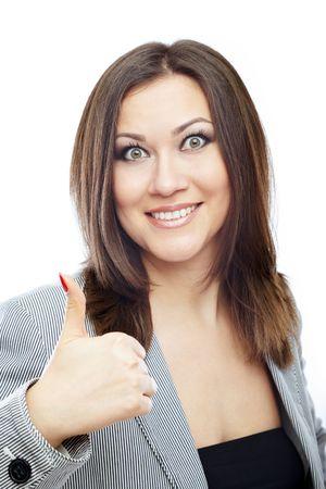 glad: Glad bussinesswoman making OK sign Stock Photo
