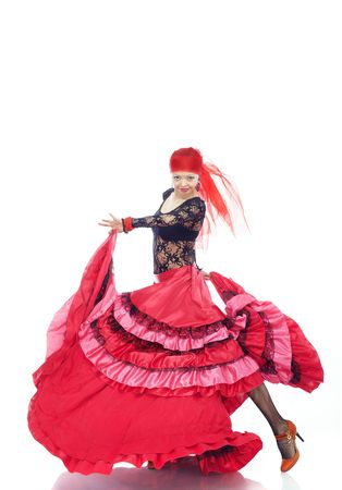 Lady dancing flamenco in traditional costume photo