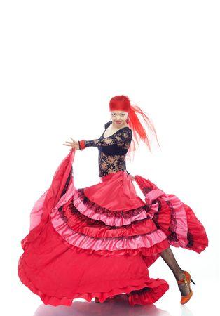 bailando flamenco: Se�ora baile flamenco en traje tradicional Foto de archivo