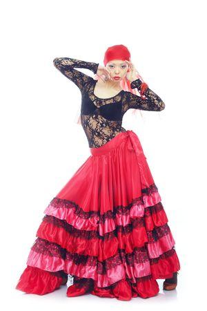 Pani w tradycyjny strój hiszpański taniec flamenco Zdjęcie Seryjne - 4441813