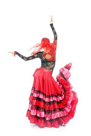 Cyganka pani taniec flamenco w tradycyjnym stroju Zdjęcie Seryjne - 4441881