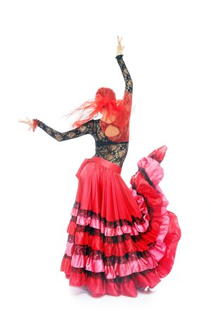 expressional: Gypsy lady dancing flamenco in traditional costume