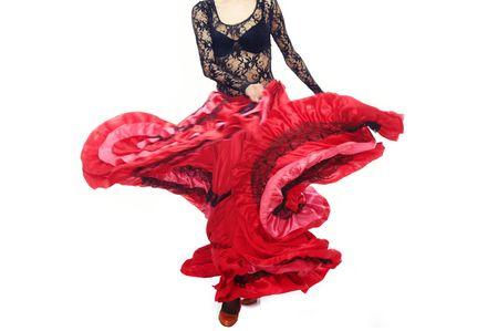 gitana: Parte del cuerpo de la bailarina de baile flamenco en traje tradicional