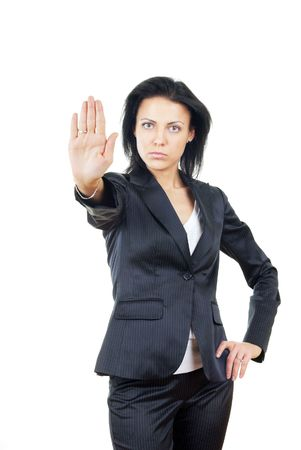 disclaim: Serious businesswoman making stop sign Stock Photo