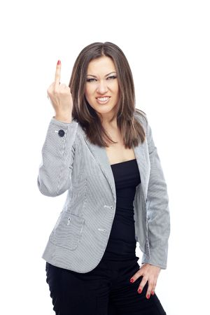middle finger: Angry businesswoman making obscene gesture Stock Photo