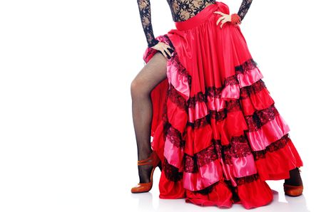 Woman body in Spanish costume standing in Flamenco dance pose photo