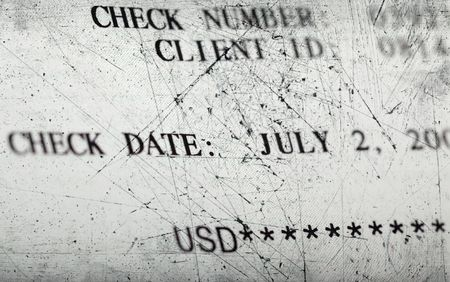 accounts payable: Texture of the old scratched check for payment