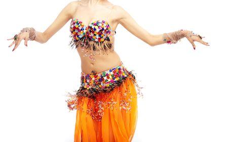 bellydance: Woman body dancing belly-dance in orange costume