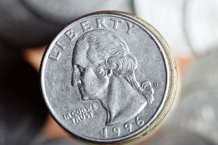 Close-up photo of US coin with George Washington portrait photo