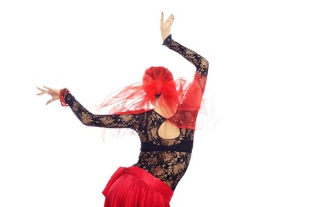 Rear view on the woman dancing flamenco photo