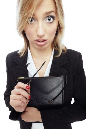 wideangle: Wide-angle photo of the astonished businesswoman holding folder and eyeglasses Stock Photo