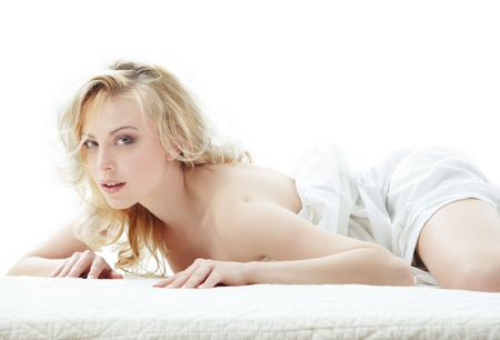 Sexy lady laying on the bed photo