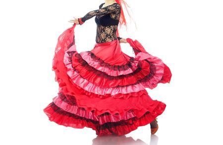 bailando flamenco: La mujer en la falda de baile flamenco rojo Foto de archivo