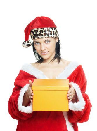 pere noel sexy: Sexy lady en costume de P�re No�l donne le cadeau