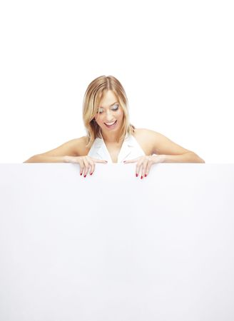 Happy lady holding paper billboard on a white background photo