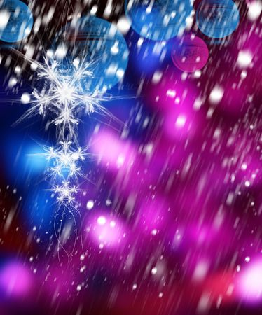 Illustration of the snow crystal on an abstract winter background with Christmas balls Stock Illustration - 5966835