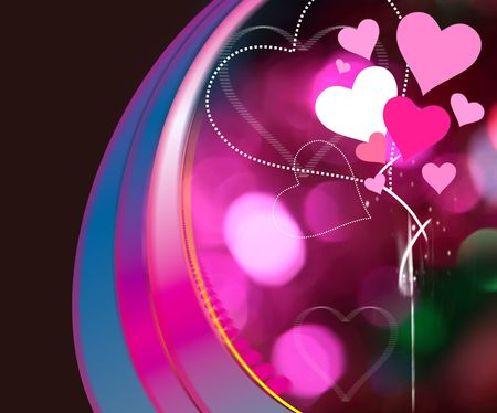 tender sentiment: Illistration of the Valentine card with colorful heart shapes and lines on illuminated background