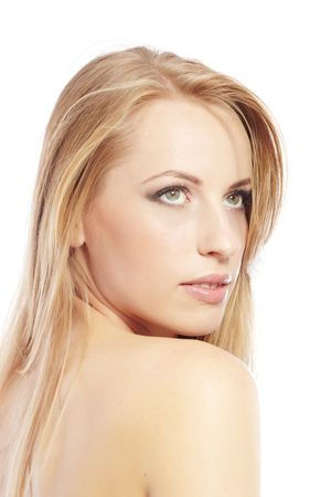 Sexy lady with perfect makeup and good skin on a white background Stock Photo - 6235259
