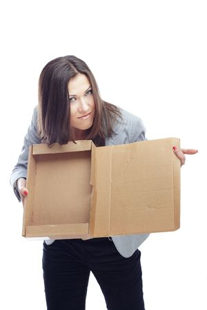 Displeased businesswoman with empty box as a symbol of crisis photo