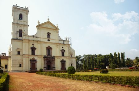 showplace: Old church in Goa. Ancient Cathedral constructed by the Medieval Portuguese. India Stock Photo