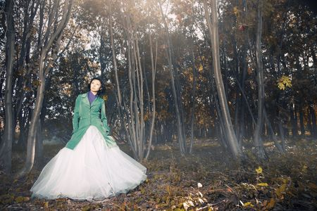 Lady in the wedding dress standing in the autumn forest with fog and red leaves photo