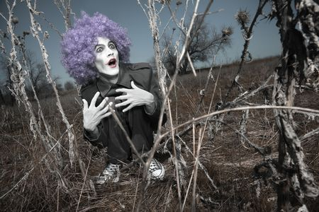 periwig: Crazy maniac clown outdoors hidden in the thorns. Artistic colors added Stock Photo