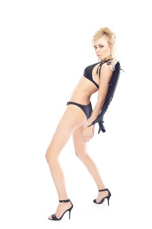 she devil: Pretty blond lady with black angel wings on a white background