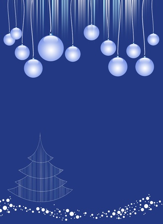 Illustration of the greeting card with Christmas tree and spheres on a blue background illustration