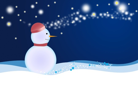 Illustration of the Christmas greeting card with winter landscape and snowman illustration