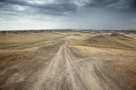 cloudy moody: Country roads in the desert steppe