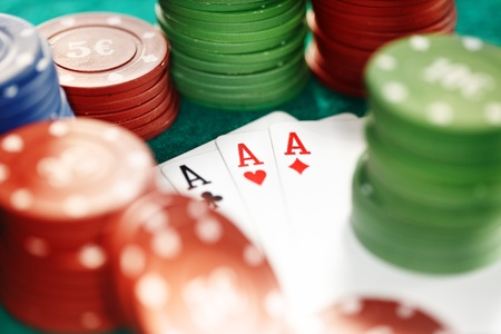 boodle: Cards and casino chips. Shallow depth of field for natural view