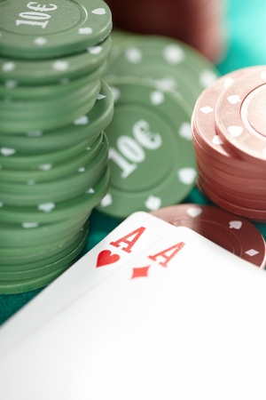 vehemence: Cards and casino chips. Shallow depth of field for natural view