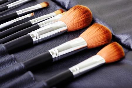 Makeup brush set. Close-up photo photo